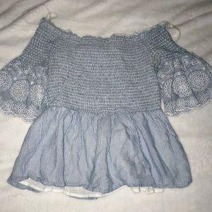 NWOT Francesca's Off the Shoulder Striped Blouse